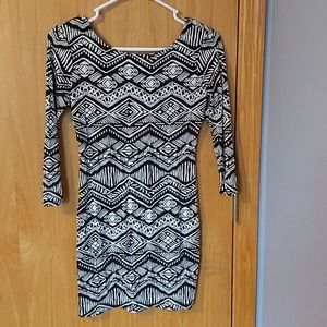 Black and white patterned body con dress